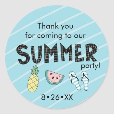 Beach Themed Summer Party! Fun Beach theme Classic Round Sticker