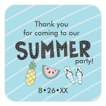 Beach Themed Summer Party! Fun Beach theme Square Sticker