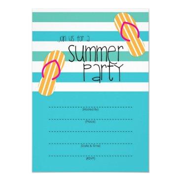 Beach Themed Summer Party fun invitation design