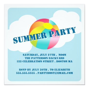 Beach Themed Summer Party Fun Time Beach Ball Invitation