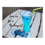 Summer Party Invitation - Blue Drink Postcard at Zazzle