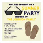"Summer Party Invitation Flip Flops & Sunglasses 5.25"" Square Invitation Card"