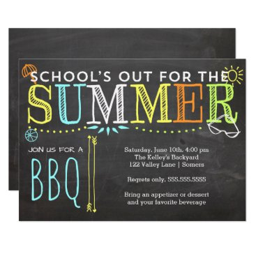 Beach Themed Summer Party Invitation-School's Out BBQ Card