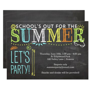 Beach Themed Summer Party Invitation-School's Out Card