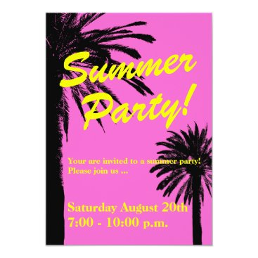 Beach Themed Summer party invitations neon pink and palm trees