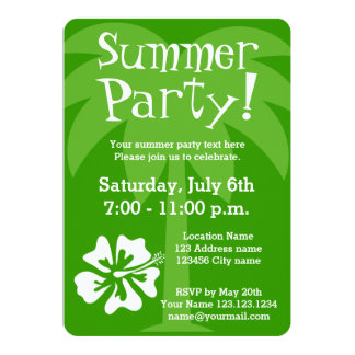 """Summer party invitations with tropical flower 5"""" x 7"""" invitation card"""