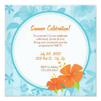 Summer Party Invite : Blue & Orange Hibiscus
