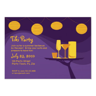 Summer Party Invite : Purple & Gold Drinks
