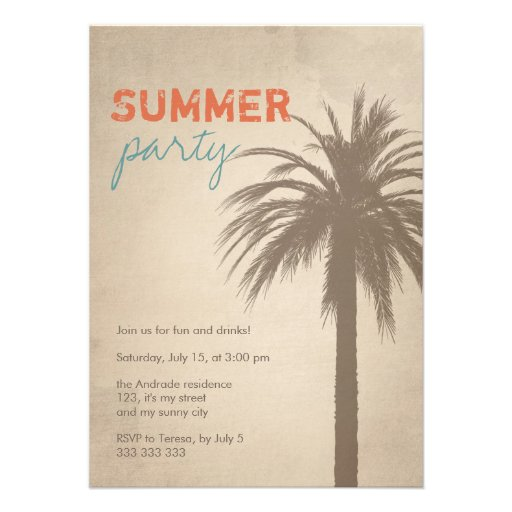Summer Party Palm Tree Grunge Style Orange Blue Announcements