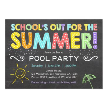 Anietillustration Summer Party Pool Party Schools Out Invitation