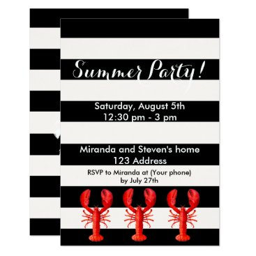 Beach Themed Summer party red lobsters on black white card
