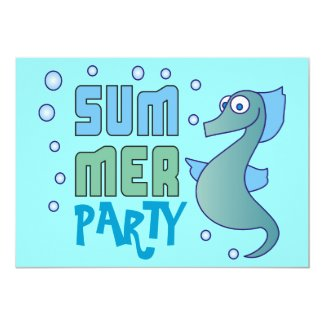 Summer Party Seahorse with Bubble Invitations