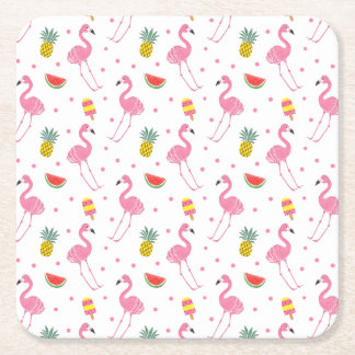 Summer Party Square Paper Coaster