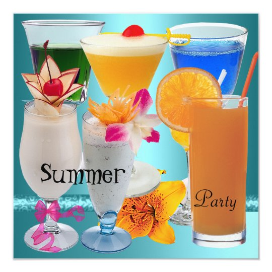 Summer Party Tropical Blue Teal Cocktail Drinks Card