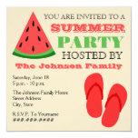 "Summer Party Watermelon & Flip Flops Invitation 5.25"" Square Invitation Card"