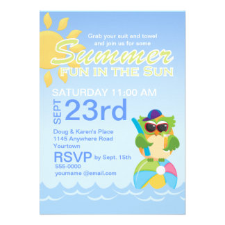 Summer Party with Cute Owl Custom Invitation