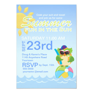 Summer Party with Cute Owl 5x7 Paper Invitation Card