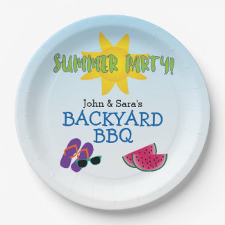 Summer Party with Watermelon & Sun, Personalized Paper Plate