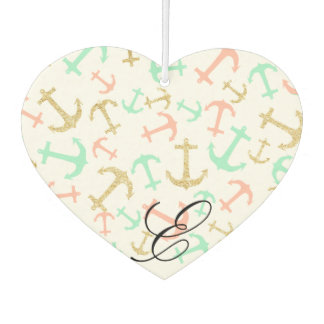 Summer pastel pink mint gold nautical anchors air freshener