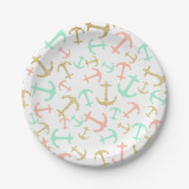 Summer pastel pink mint gold nautical anchors paper plate