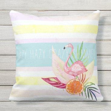 Beach Themed Summer Pastel Stripe, Flamingo, Tropical Outdoor Pillow