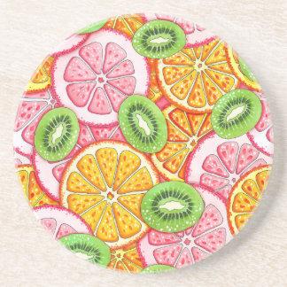 Summer pattern Orange grapefruit and kiwi fruit Coaster
