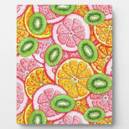 Summer pattern Orange grapefruit and kiwi fruit Plaque