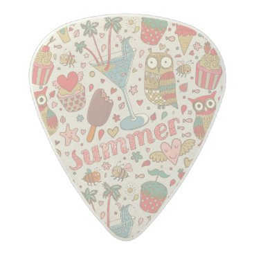 Beach Themed Summer Pattern With Ice Cream Acetal Guitar Pick