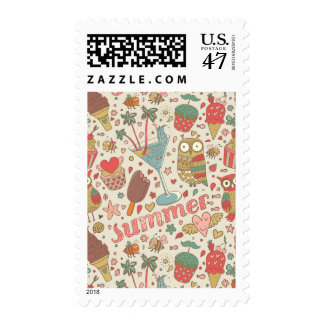 Summer Pattern With Ice Cream Postage