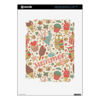 Summer Pattern With Ice Cream iPad 3 Decal