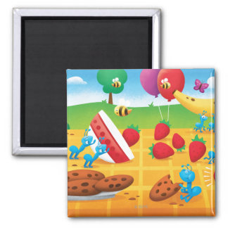 Summer Picnic 2 Inch Square Magnet