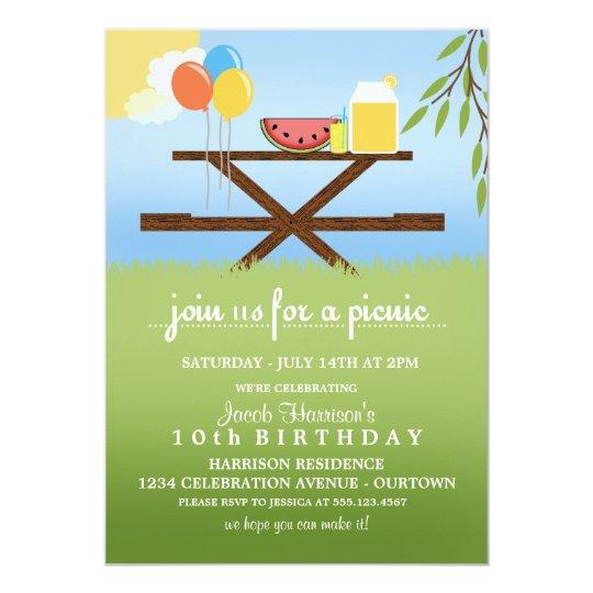 summer picnic birthday party invitations zazzle com