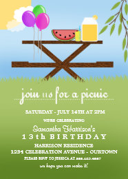 Picnic birthday invitations announcements zazzle summer picnic birthday party invitations filmwisefo Image collections