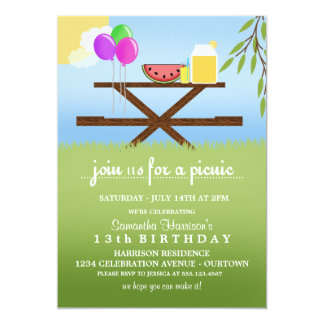 Summer Picnic Birthday Party Invitations