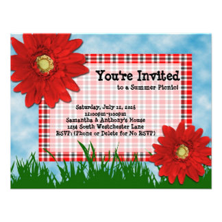Summer Picnic Cookout Invitation Bright Red Daisy