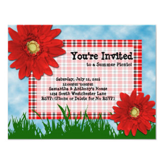 Summer Picnic Cookout Invitation, Bright Red Daisy Card