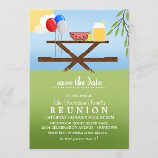 Summer Picnic Family Reunion Invitations