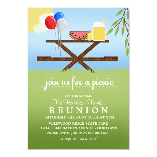 Summer Picnic Family Reunion Invitations  Family Reunion Invitation Cards