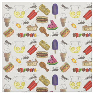 Summer Picnic Food Corn Pie Popsicle Grill Fabric