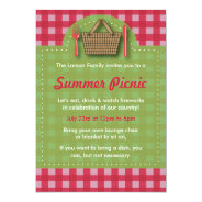 Summer Picnic Gingham Invitations at Zazzle