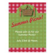 Summer Picnic Gingham Postcard at Zazzle