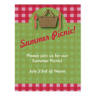 Summer Picnic Gingham Postcard