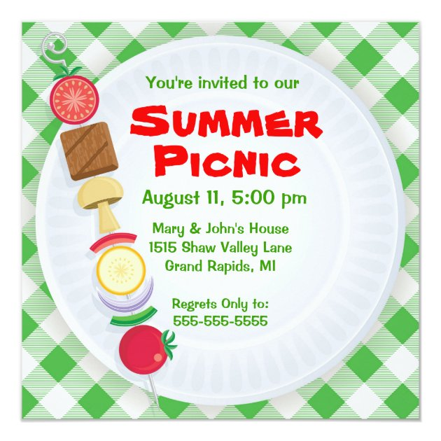 summer picnic invitation | zazzle, Einladung