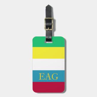 Summer Picnic Palette Stripe Monogram Luggage Tag