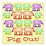 "Summer Picnic Pig-Out Invitation - Folk Art Pigs 5.25"" Square Invitation Card"