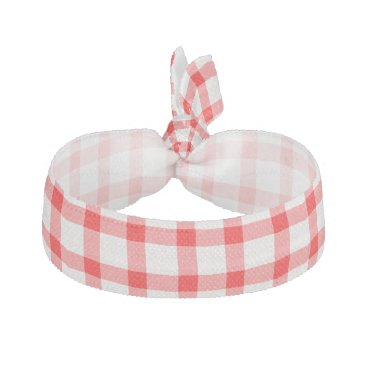 Beach Themed Summer Picnic Red Gingham Pattern Hair Tie
