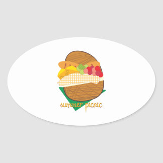 Summer Picnic Oval Sticker