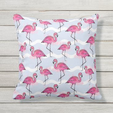 Beach Themed Summer pillow with pink Flamingos