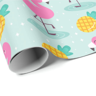 Summer Pineapple Flamingo Wrapping Paper