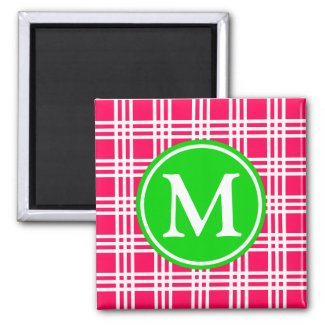 Summer Pink and Green Lattice Monogram Magnet